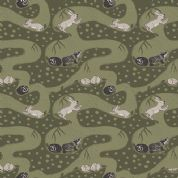 Lewis & Irene Enchanted Forest - 5098 - Bunny Tunnels in Forest Green - A188.3 - Cotton Fabric